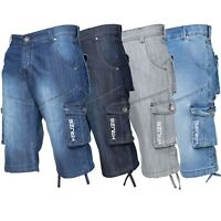 Kruze Branded Mens Cargo Shorts Combat Denim Knee Length Multi Pocket Half Pants