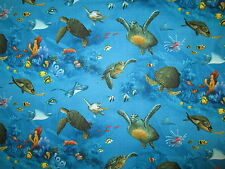 TURTLE SEA TURTLES TROPICAL FISH COTTON FABRIC FQ