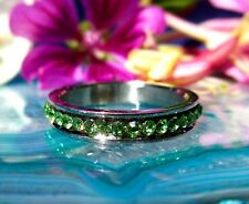 Ring Stainless Steel Ring Green Light Green Crystal Band Ring