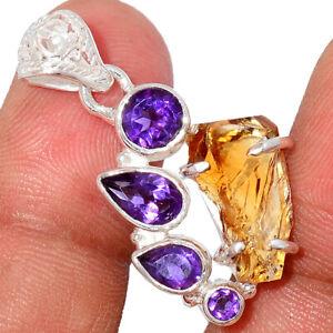 AAA Mandarin Citrine Rough, Brazil & Amethyst 925 Silver Pendant Jewelry BP76935