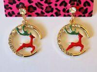 Betsey Johnson Crystal Rhinestone Enamel Reindeer in Moon Post Earrings