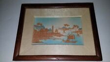 """Vintage Chinese: Framed Cut Bamboo 8"""" x 6"""" SEASCAPE / LANDSCAPE   180101013"""