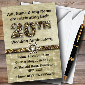 Titanium Gold Sparkly 20Th Personalised Anniversary Party Invitations