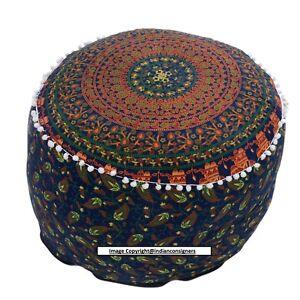 Pouf Mandala Design Flower print Round Ottoman Stool Cover Decorative Classy Art