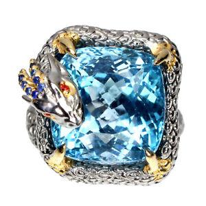 Handmade Natural 26 Ct Blue Topaz Blue Sapphire 925 Silver Dragon Ring Size 9.5