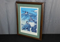 Kevin Daniel Winter Chickadees signed & numbered print birds in snowy pine tree
