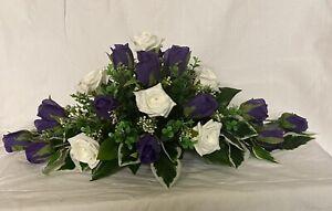 wedding flowers top table decoration cadbury purple & ivory roses many cols