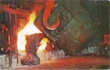 Postcard Indiana Gary Steel Works Open Hearth Furnace US Steel Corp c1950s