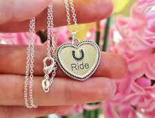 Horse NECKLACE Pony Lover Ride Heart Pendant Horseshoe 925 Sterling Silver Chain