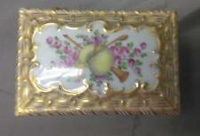 Antique Dresden Jewelry Casket Box Basket Hand Painted Floral Bagpipes Porcelain