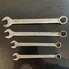 4 VINTAGE SIDCHROME RING AND OPEN ENDED SPANNERS.