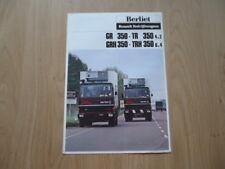 BERLIET GR350, TR 350 AND TRH 350 BROCHURE / PROSPEKT 1978