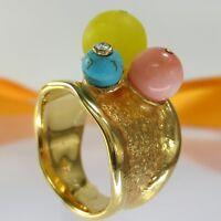 A736 Unikat Edelstein Ring 925 Silber Gold vergol. Diamant Jade Koralle.. Gr.56