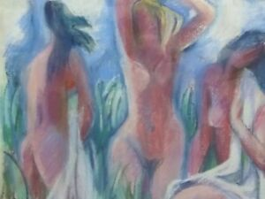 PASTEL STUDY OF THREE NUDE LADIES ARTIST VOGEL FREE SHIPPING TO ENGLAND