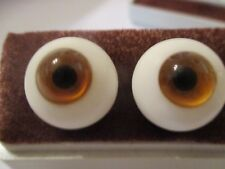 20 mm Brown Paperweight Glass Eyes Dolls, 10 mm Iris    A1