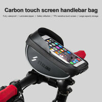 CYCLING Black Bike Bicycle Handlebar Bag Waterproof Fit Below 6 Inches Phone