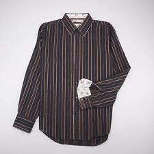 7 DIAMONDS Button Front Dress Shirt Long Sleeve Brown Striped Mens XL