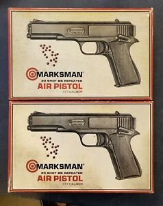 Pair of Vintage Crossman Marksman Repeater .177cal Pistol In boxes with papers B