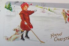 Antique Postcard Girl on ice Hockey stick ice skating Spaniel dog Christmas! *