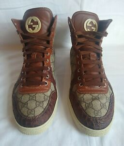 Gucci Men's GG Plus Calfskin Embossed Crocodile High Top Trainer's Size UK 8.5