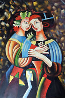 Two Medieval Girlfriends Women Portrait 24X36 Modern Art Oil Painting Stretched