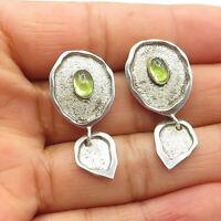 925 Sterling Silver - Vintage Petite Peridot Textured Dangle Earrings - E6974