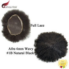 Full Lace Afro Mens Toupee All Lace African American Hairpieces Black 6mm Wavy