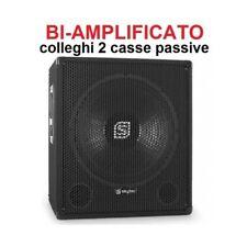SUBWOOFER BI AMPLIFICATO 600W CON 2 USCITE ATTIVE cassa diffusore sub dj palco