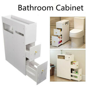 Bathroom Toilet Slim Floor Cabinet Narrow Storage Cupboard with Drawers UK