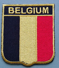 NATIONAL FLAG COUNTRY SHIELD SEW ON / IRON ON EMBROIDERED PATCH:- BELGIUM