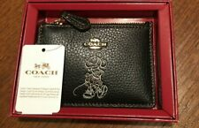NEW!! COACH X DISNEY Minnie Mouse Skinny ID Wallet Keychain Black Leather BOXED
