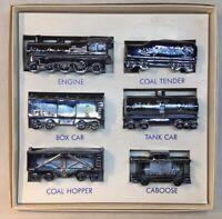 """Boyd Art Glass Six Piece Ebony Carnival """"Boyd's Special"""" Train Set Original Box"""