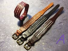 Handmade leather bracelets brown colour of loess Green, blue, black and red