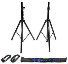 "Pair of Rockville Tripod Speaker/Lighting Stands+(2) 20 Foot 1/4""-SpeakOn Cables"