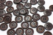 Dark Brown Wood Buttons Sweater Coat Natural Brown Wooden Raised Edge 20mm 20pcs