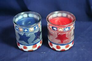 Renuzit One Red and One Blue Candle in Glass Containers With Patriotic Trim