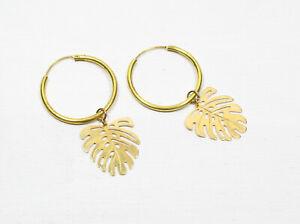 Ohrringe MONSTERA-CREOLEN handmade goldene Creolen Blatt Blätter tropical Sommer