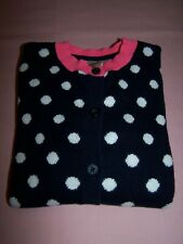 Oshkosh Long Sleeve Button Front Cardigan - Navy/White Dots & Pink Trim Size 6X