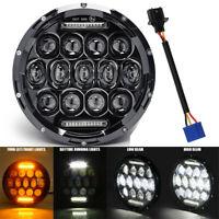 "Black LED Headlight 7"" Hi/Lo Turn Amber DRL Lamp For Land Rover Defender 90"