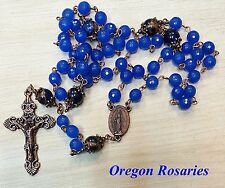 Larger Sapphire & Pressed Jade Gemstone Rosary, Cobalt blue, Copper  #OR1163