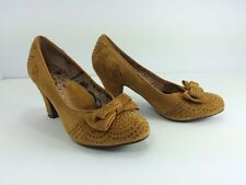 MISS L-FIRE Anthropologie Mustard Suede Bow Rhinestone Slipper Shoes Heels Sz 38