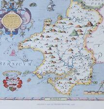 Saxton map of penbrokshire - 1578. LITHO PRINT-reproduction.