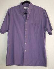 Gold Lion Mens Large Purple Collared Short Sleeve