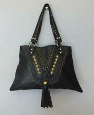 Hand Made NKR! STUD LEATHER BAG Womens Shoulder Bag New - 01 Black