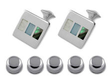 Sterling Silver Mother Of Pearl & Abalone Shell Cufflinks Shirt Dress Studs Set