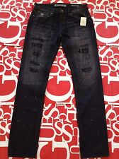 Guess Men's Slim Straight Jeans In Moshpit Wash Heavy Destroy Details Size 33