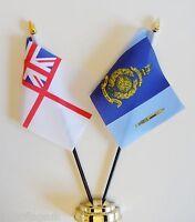 Royal Navy White Ensign & RM 40 Commando Double Friendship Table Flag Set