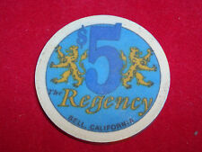 $5 The Regency Casino Chip Bell California Poker Token Colorful High Quality