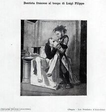 DENTISTA FRANCESE, Caricatura di Gavarni.Medicina.Dentiste.Dentist.Zahnarzt.1929