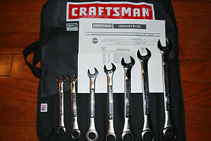 NEW CRAFTSMAN 7-PC INCH INDUSTRIAL COMBINATION RATCHETING WRENCH SET # 24623